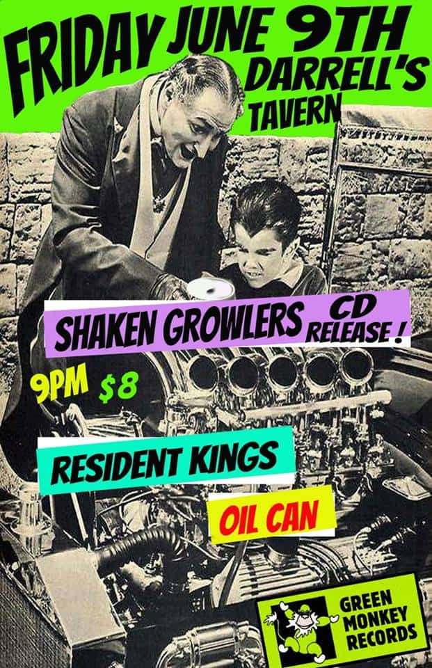 SHAKEN GROWLERS RECORD RELEASE THIS FRIDAY June 9 at Darrell's